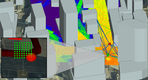 Conference Paper: Simulation of Beamforming by Massive MIMO in Dense Urban Environments