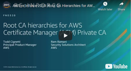AWS re:Inforce 2019: Root CA Hierarchies for AWS Certificate Manager (ACM) Private CA [Video]