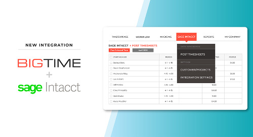 BigTime Software Announces New Integration with Sage Intacct