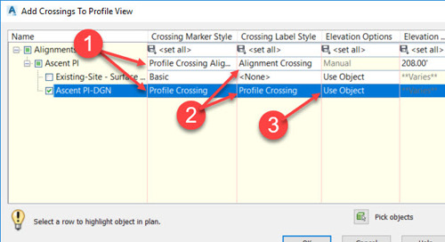 Display Linear Crossings in Profile View – Civil 3D 2019.2