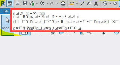 Revit Tooltips showing weird characters