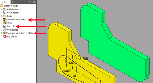 Inventor Nesting Utility 2019.1 Update: Nesting Part Extrusions and Sketches