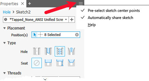 Inventor 2019.1 Update Adds New Features to Hole Command