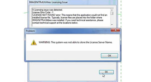 "IMAGINiT Utilities gives ""The system was not able to store the license server name"" trying to point to the network license manager"