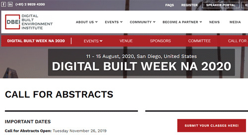 Digital Built Week NA 2020 Call for Abstracts Now Open!