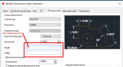 "AutoCAD How to remove the ""R"" and ""Ø"" Symbols in Radial Dimensions"
