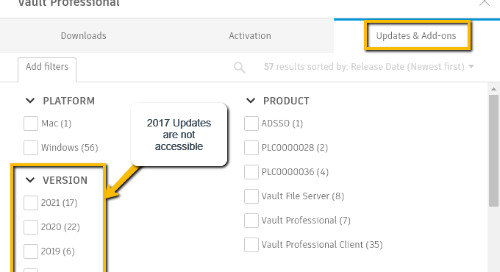 How to locate direct download links for currently available product updates