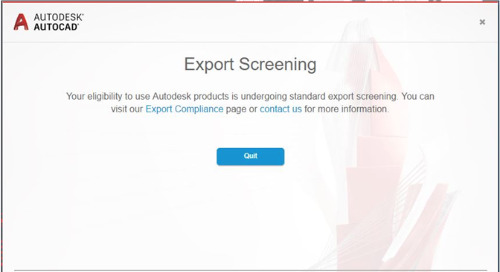 Export Screening Notification in Autodesk Products