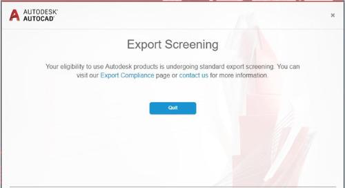 Export Screening Notification in Autodesk Products