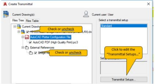 How to ETransmit AutoCAD files to include XREFs and place them all in one folder