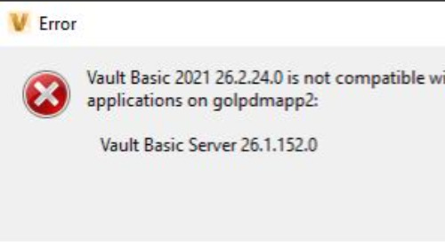 Vault Client is not compatible with the following applications...