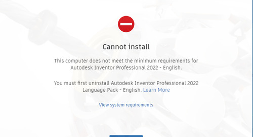 Inventor 2022 Cannot install 'computer does not meet minimum requirements'