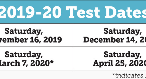 2019-2020 SSAT Standard Test Dates