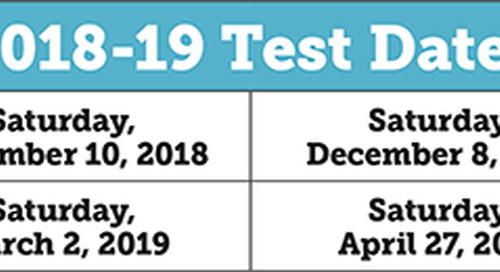 2018-2019 SSAT Standard Dates