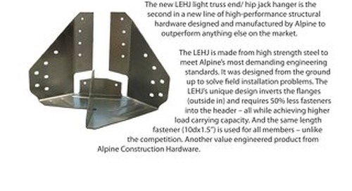 Construction Hardware LEHJ Light Truss End / Hip Jack Hanger