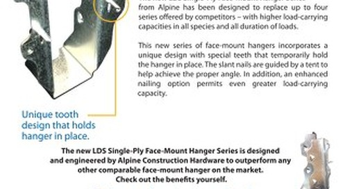 Construction Hardware LDS Single-Ply Face-Mount Hanger Series