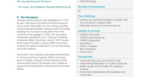 Menzies Enhances Inventory, Production and Decision-Making with SYSPRO