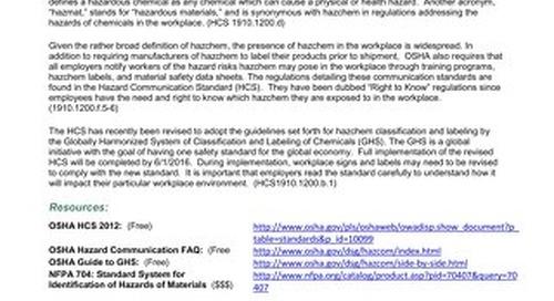 Hazardous Chemical (Hazchem) Signs and Labels