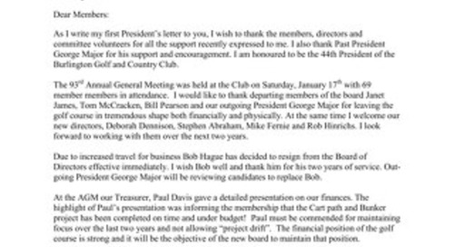 Presidents Letter ~ February 2015