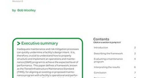 WP 178 - A Framework for Developing and Evaluating Data Center Maintenance Programs