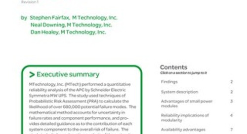 WP 109 - Reliability Analysis of the APC Symmetra MW Power System