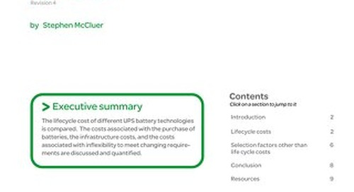 WP 35 - Battery Technology for Data Centers and Network Rooms: Lifecycle Costs