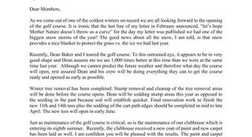 Presidents Letter ~ April 1 2015