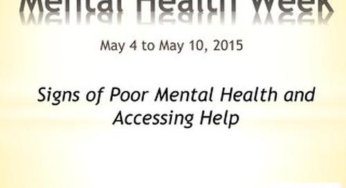 Mental Health Week - symptoms and help
