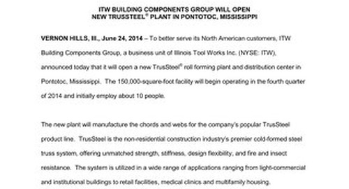 New Pontotoc TrusSteel Facility Announcement 6-24-14