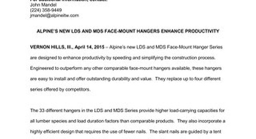 LDS and MDS Face-Mount Hanger Series News Release 4-14-15
