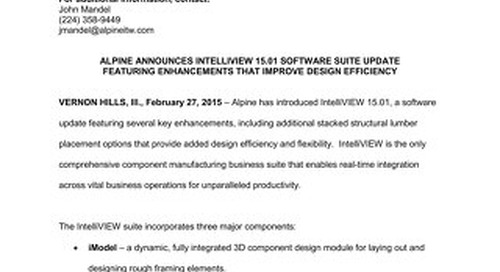 IntelliVIEW 15.01 News Release 2-27-15