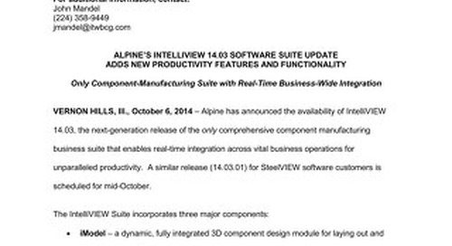 IntelliVIEW 14 03 News Release 10-6-14