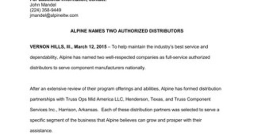 Alpine Names Two Authorized Distributors News Release 3-12-15