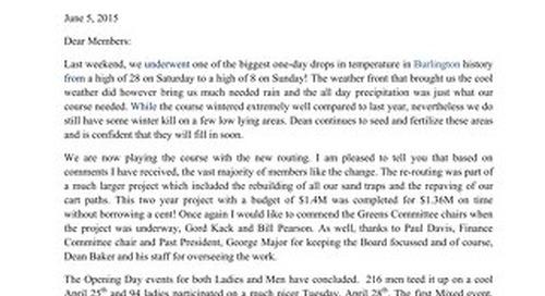 June 5th President's Letter