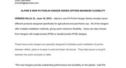 PH Purlin Hanger Series News Release 6-16-15