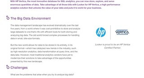 Analytics on HP Vertica