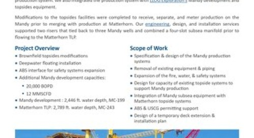 Mandy Development / Matterhorn TLP: Subsea Tieback of Wells - Project Profile