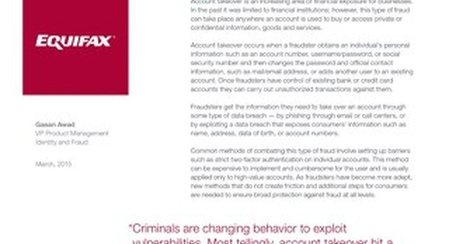 Equifax Risk Based Authentication: Mitigating Account Takeover Fraud
