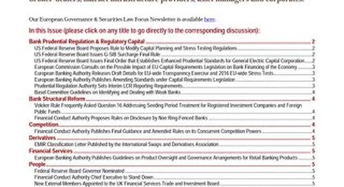 Financial Regulatory Developments Focus Issue 26 - July 21, 2015