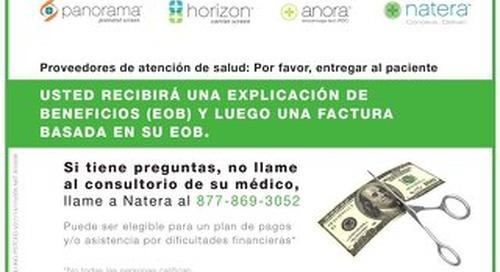 Natera Billing Postcard - Spanish
