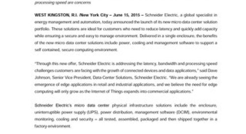 Press Release: Schneider Electric Micro Data Center Solutions
