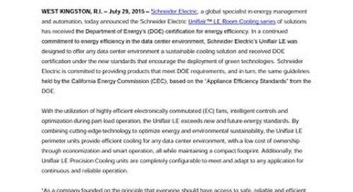 Press Release - Schneider Electric's Uniflair LE Room Cooling Series Receives Department of Energy's (DOE) Certification for Energy Efficien