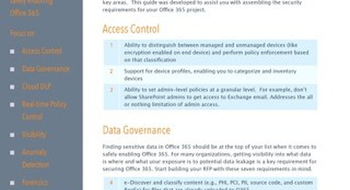 Safely Enabling Office 365: A Requirements Checklist