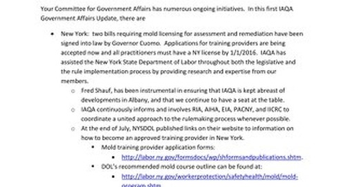 IAQA GOVERNMENT AFFAIRS UPDATE- August