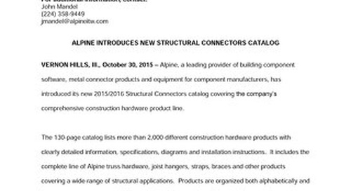New Structural Connectors Catalog