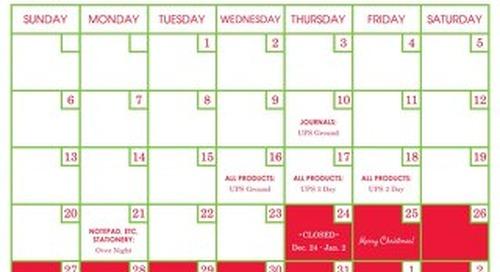 2015 Holiday Shipping Calendar