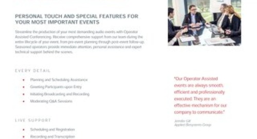 Operator Assisted Conferencing Overview