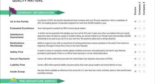 Encore Competitive Checklist