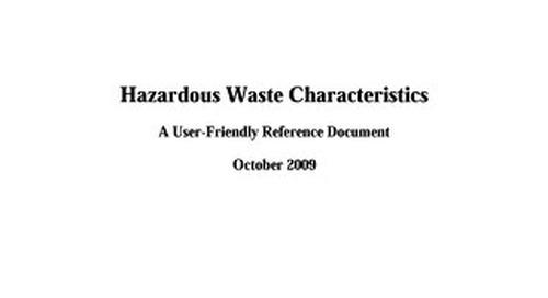 EPA Hazardous Waste Characteristics (RCRA)
