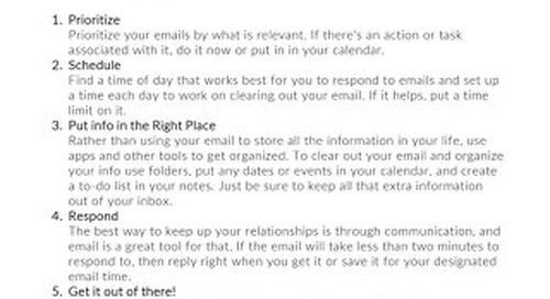 Inbox Zero Cheat Sheet